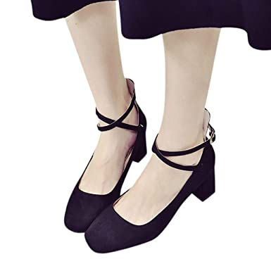 cd6c934ac93 Amazon.com  Challyhope Womens Square Toe Thick Heel Pumps with Ankle Strap  Faux Suede Ballet Shoes Party Dress Shoes  Clothing