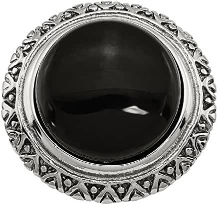Stainless Steel Black Glass w/Textured Edge Size 8 Ring