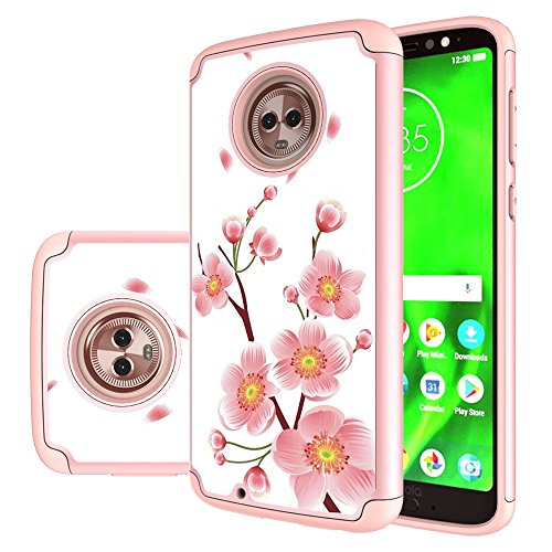Moto G6 Case, MAIKEZI Hybrid Dual Layer TPU Plastic Armor Defender Phone Case Cover for Motorola Moto G6 2018, Shock Absorption, Drop Protection (Rose Gold Flower)