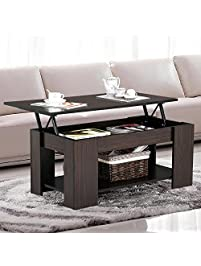 Go2buy Modern Lift Top Tea Coffee Table W Hidden Storage Compartment Under Shelf Espresso