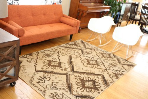 (Feraghan/New City HIL_d85_1048_Beige_2x4 Contemporary Modern Floral Flowers Area Rug, 2' x 3', Brown/Beige)