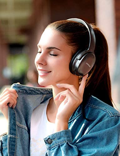 Mpow H10 Hybrid Active Noise Cancelling Headphones, Bluetooth Headphones Over Ear with Microphones, HiFi Deep Bass, Memory Protein Earmuffs, 30H Playtime for Kids, Adults, Online Class, Home Office