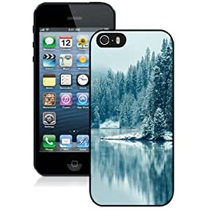 NEW Unique Custom Designed iPhone 5S Phone Case With Pine Forest Lake Snow_Black Phone Case