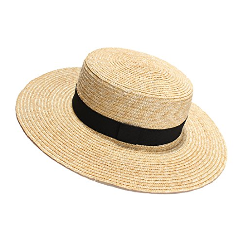 Womens' Panama Sun Hat Boater Handwoven Straw Hat for Summer -