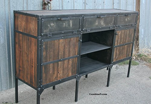 Credenza, Buffet, Vintage Industrial, Steel and Reclaimed Wood