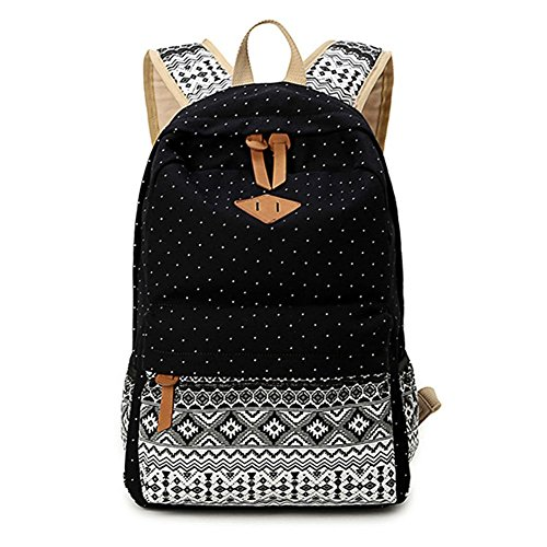 Abshoo Casual Canvas Dot Backpack Cute Lightweight Teen Girls Backpacks (Black)