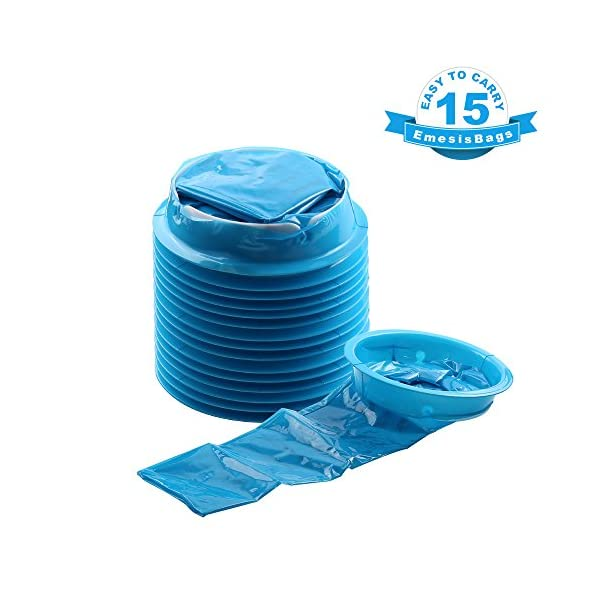 Blue Emesis Bags, YGDZ 15 Pack Vomit Bags, Disposal Barf Bags, Aircraft & Car Sickness Bag, Nausea Bags For Travel Motion, 1000ml