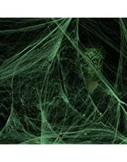 SEELOK 200 g Halloween spinnenwebben decoratief oplichtend spinnenweb met 8 spinnen rekbaar spinnenwebben horrordecoratie Halloweenfeest rekwisieten van tafel huis open haard tuin plafond