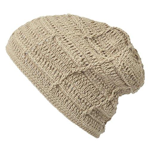 CasualBox mens Beanie Hat Cotton HAND SEWN Unisex Beige ()