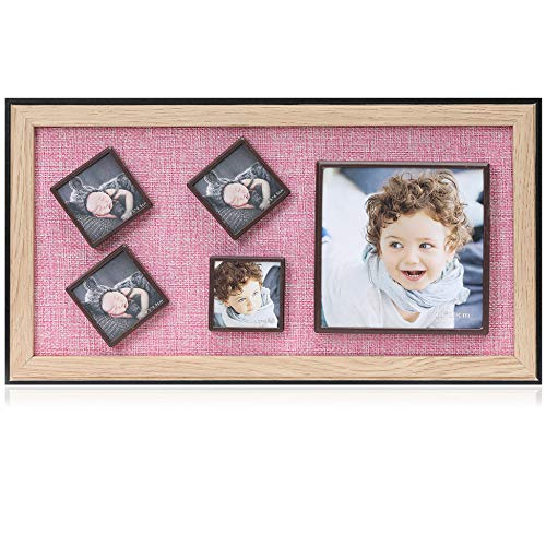 (Display Shadow Box Magnetic Picture Frames Set, Linen Back Showcase Frame - 5 Collage Photo Frames for Refrigerator - Home Wall Art Decor)
