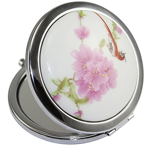 (KOLIGHT New Vintage Chinese Landscape Flower Bird Double Sides (One is Normal,Another is Magnifying)Portable Foldable Pocket Metal Makeup Compact Mirror Woman Cosmetic Mirror (Flower+Red Bird))