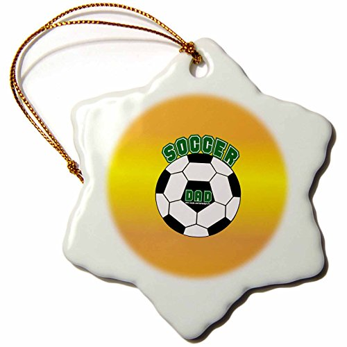 3dRose orn_12414_1 Soccer Dad on Yellow-Snowflake Ornament, Porcelain, 3-Inch by 3dRose