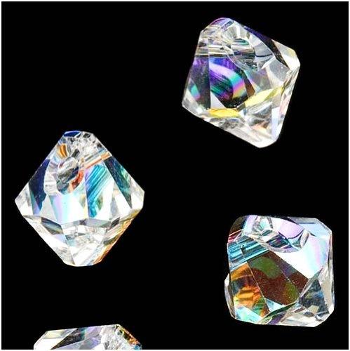 (SWAROVSKI ELEMENTS Crystal #6301 6mm Bicone Pendant Beads Crystal AB (10 Beads))