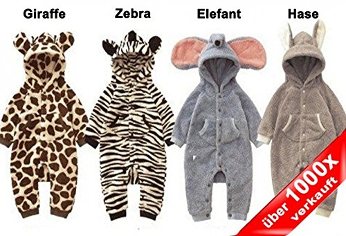 Baby Strampler Kuschel-Tiere | Babystrampler langarm | Jogginganzug, Größe:9-12 Monate;Modell:Elefant