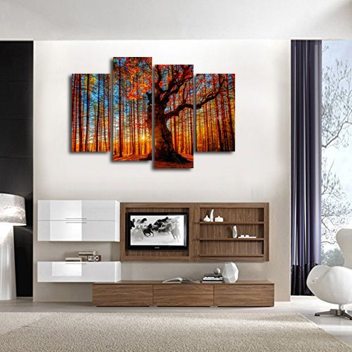 Large red tree sunset woods canvas painting pictures for What kind of paint to use on kitchen cabinets for 2 panel canvas wall art