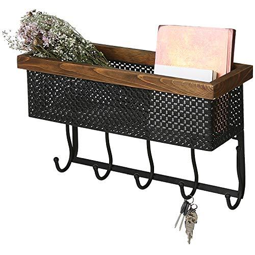Wood Trim Designs - MyGift Metal Cutout Design Wall-Mounted Storage Basket with Wood Trim & 5 Key Hooks
