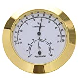 SODIAL(R) Copper+Zinc Alloy Guitar Violin Hygrometer Moisture Meter Temperature and Humidity Meter Thermometer with widely usage Golden