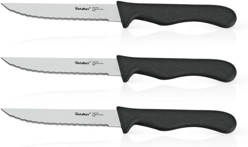 Metaltex 258113 - Juego de 3 Cuchillos para Carne, Acero Inoxidable, 11 centímetros