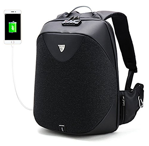 HKBUYEASY Business Laptop Backpack, Anti Theft Waterproof Travel Backpack with Lock, Slim College School Computer Bag with USB Charging Port Fits UNDER 17