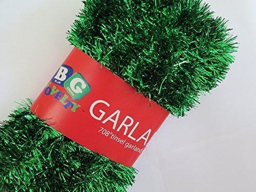 Blue Green Novelty Green Foil Tinsel Christmas Garland 708 (59 Feet)