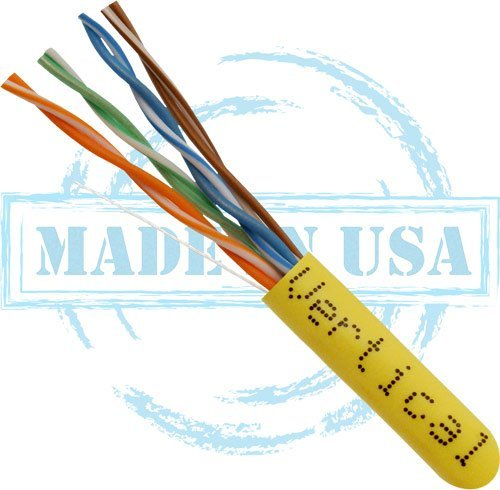 Nassau Electrical Supply 1000' 166-259/P/YL 23 AWG 4P Solid BC PVC Yellow Plenum 550MHz CAT6 UTP Cable