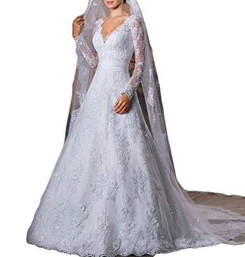 3dbc2ab424 Vweil Vintage Inspired Vestidos De novia Long Sleeve Lace Bridal Wedding  Gowns For Women White US8