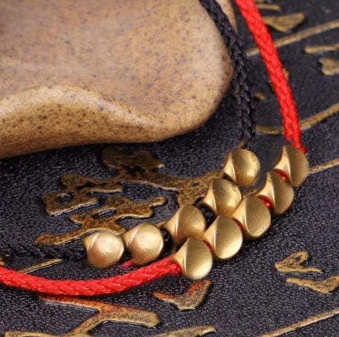 GOODCHANCEK hecha a mano budista pulsera ajustable de cuerda de la suerte negro y rojo para mujeres y hombres Pulsera de cuentas de cobre tibetano