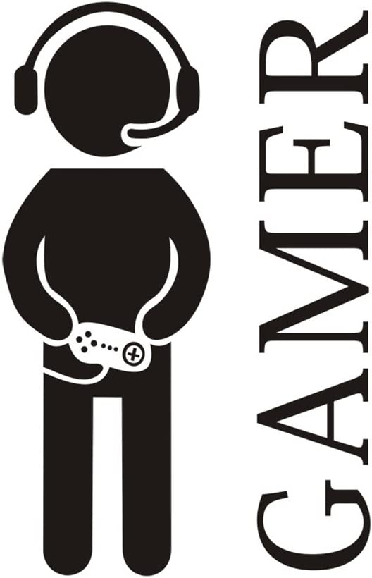"Gamer with Controller Wall Decal, Game Boy Decal Wall Sticker, Vinyl Art Design Sticker Wall for Home, Playroom Bedroom Decoration Wallpaper (23.6"" x 15.8"")"
