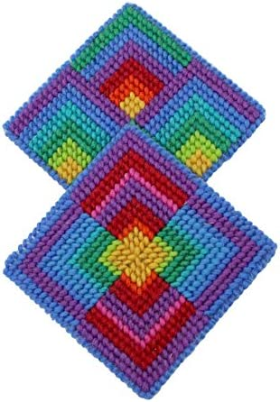 Weaving Crafts for Kids /& Adults-Multicolor Harrisville Designs First Needlepoint Kit Coasters Pattern with 2 canvases