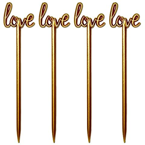 Royer 4.5 Inch Plastic Love Script Wedding Cocktail Picks, Set of 48, Gold - Made In USA - Decorative Toothpicks