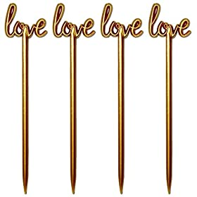 Royer 4.5 Inch Plastic Love Script Wedding Cocktail Picks, Set of 48, Gold – Made In USA
