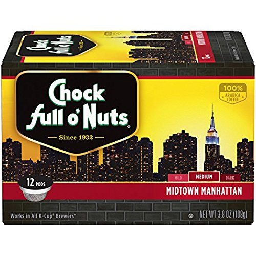 Chock Enormously o'Nuts Coffee, Midtown Manhattan Medium Roast, Single Serve Coffee Cups, 12 Count
