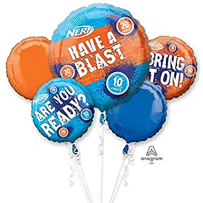 Combined Brands Nerf Theme Happy Birthday Party Decorations Balloon Bouquet with (Blue Number 4): Health & Personal Care