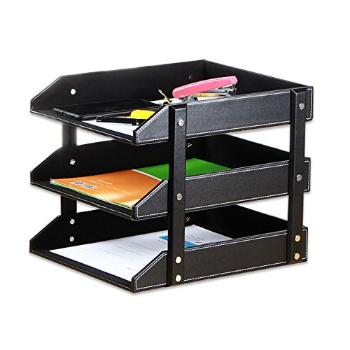 Stacking Letter Trays Leather Office Desk Supply Organizer, 3-Tier Files Sorter Workplace Desktop Storage Holder for Document/Paper/Stationery/Magazine/Newspaper/Mail/Sundries (Black) (Executive Letter Tray)