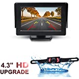 GSPSCN Monitor and Backup Camera Kit For Car,Waterproof 7 IRs Light Night Vision wired License Plate Reverse Rear view Camera + TFT LCD 4.3 inch Rear View Monitor (Monitor with CCP-UP Cam)