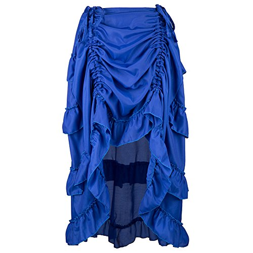 Alex sweet Blue Adjustable Ruffle Asymmetric Vintage Gothic Skirt Plus Size Steampunk Corset Skirt Long for Women S-6XL (XXL, Blue) -