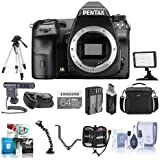 Pentax K-3 II Digital SLR Camera Body - Bundle with 64GB SDXC Card, Spare Battery, Camera Case, Video Light, Battery Grip, Tripod, ShotGun Mic, Triple Shoe V Bracket, Software Bundle and More