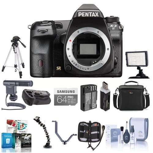 (Pentax K-3 II Digital SLR Camera Body - Bundle with 64GB SDXC Card, Spare Battery, Camera Case, Video Light, Battery Grip, Tripod, ShotGun Mic, Triple Shoe V Bracket, Software Bundle and More)