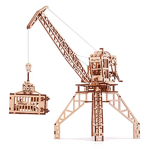 Crane Toy Set + Container, Wooden Toy Crane Playset Mechanical Model - Construction Toys - 3D Wooden Puzzle, Assembly Toys, ECO Wooden Toys, Best DIY Toy - STEM Toys for ()