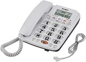 Eboxer Corded Phone Portable Desktop Dial Landline Telephone with Speed Dial & Incoming Call Display & Last Number Redial 2-line Corded Telephone for Home Office Hotel, White
