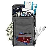 Orbisey Neck Wallet Travel Lightweight Pouch Stash for Passport, Money, Cards (Gray)