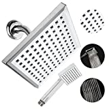 QUALWARES 8 Inch Rainfall Square Shower Head with Handheld Shower Head by Made from Durable ABS Material with Chrome Finish- Consistently Strong Water Pressure and Soothing Shower Experience