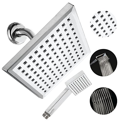 Polished Chrome Tub Shower Telephone (8 Inch Rainfall Square Shower head and Hand washer. by QUALwares -Made from Durable ABS Material with Chrome Finish- Consistently Strong Water Pressure and Soothing Shower Experience.)