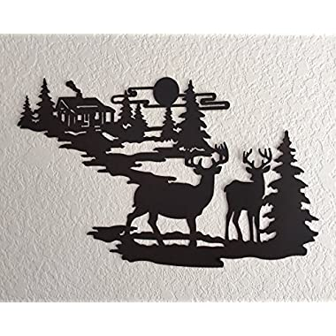 Cabin Ironworks Deer and Lodge in Woodlands Metal Wall Art - Rustic Mountain Country Lake House Cabin Lodge Decor