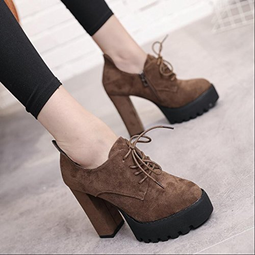 With The Winter The Korean Boots KHSKX Thick A Strap And Boots Brown Ultra New With Zipper Side And The Autumn Resistant Tether Bare Version Of 11Cm Boots High Round Head 37 Water Female SqZIIw