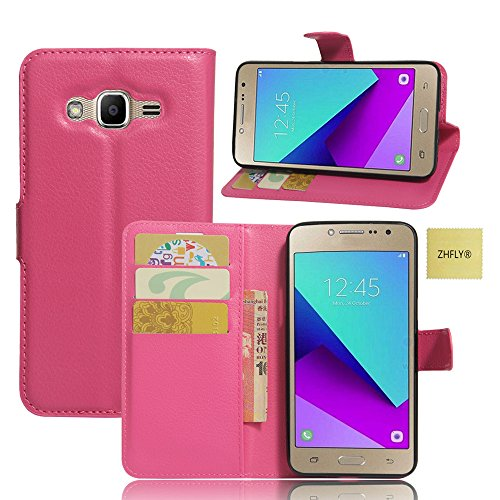 Samsung Galaxy J2 Prime Case, ZHFLY Luxury PU Leather Wallet Flip Shell Cover with Card Slots & Stand - Rose - Light M20 Matte
