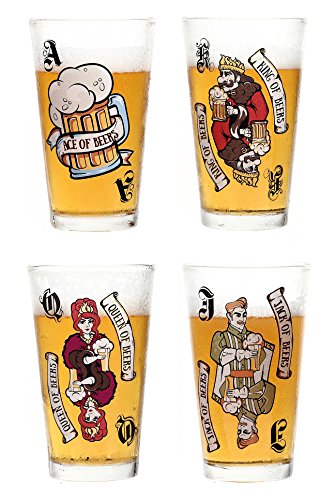 Avery Barn 16 oz Pint Beer Glasses - Casino Night Poker Blackjack Party Supplies Color Changing Playing Card Drinking Pub Glassware - Gift for Him - Set of 4