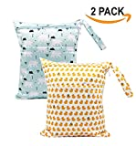 JooNeng 2pcs Wet Dry Cloth Diaper Bag Portable Baby Double Pocket Nappy Bag Organizer Animal Pattern Travel Bag,Polar Bears Ducks