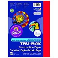 Pacon Tru-Ray Construction Paper, 9-Inches by 12-Inches, 50-Count, Festive Red (103431)