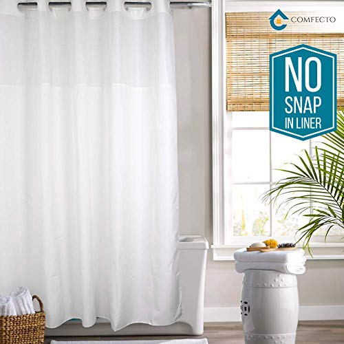 (Hookless Shower Curtain by COMFECTO, [NO SNAP IN LINER] 77x70 Inch Mold Mildew Resistant Hotel Bathroom Curtains with Light-Filtering Mesh Screen and Magnets, Machine Washable, White)